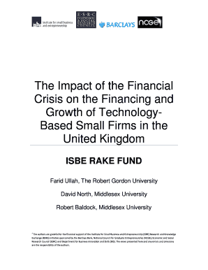 Robert Gordon University-The Impact of the Financial Crisis on the Financing and Growth of Technology-Based Sm