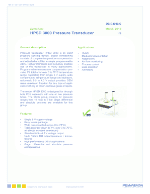 Fillable Online HPSD 3000 Pressure Transducer - PEWATRON Fax Email