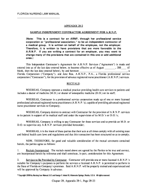 Printable Sample Independent Nurse Contractor Agreement Fill Out