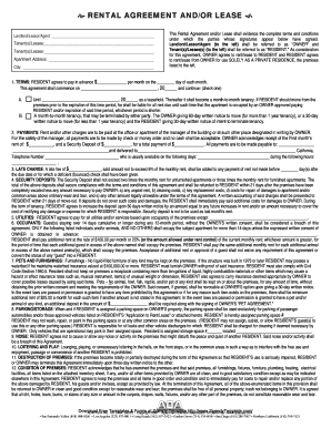 RENTAL AGREEMENT ANDOR LEASE