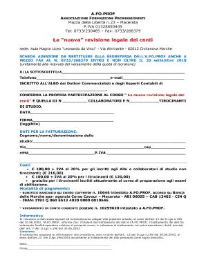 Fillable Online Afoprof La Nuova Revisione Legale Dei Conti