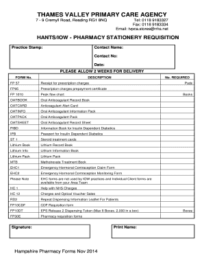 MONTHLY STATIONARY REQUISITION ORDER - tvpca nhs