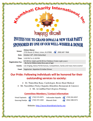 Diwali Party Flyer - Khambhati Charity International