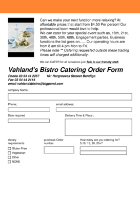 Fillable Online Vahlands Bistro Catering Order Form