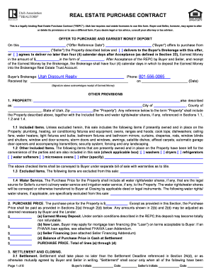 Utah real estate purchase contract fill online printable preview of sample platinumwayz