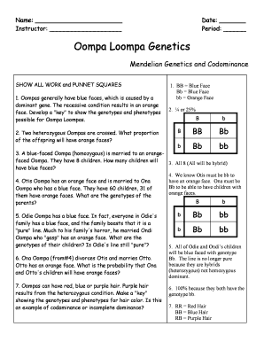 Fillable Online Oompa Loompa Genetics Fax Email Print ...