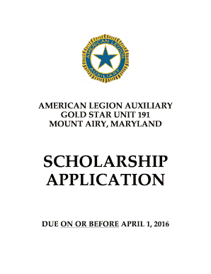 SCHOLARSHIP APPLICATION - Gold Star Post 191