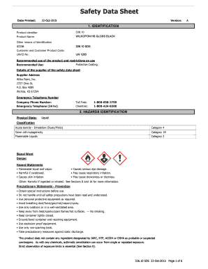 Safety Data Sheet Date Printed: 22Oct2015 Version: 1