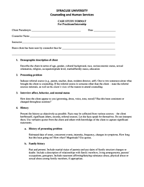 Printable counseling case presentation example Templates to Submit