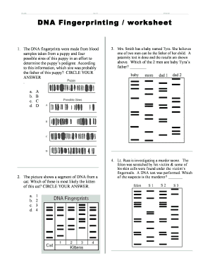 Fillable Online DNA Fingerprinting worksheet Fax Email Print ...