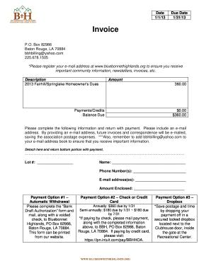 Fillable Online Bluebonnethighlands Hoa Dues Invoice