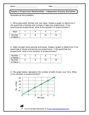Fillable Online Graphs of Proportional Relationship Independent ...