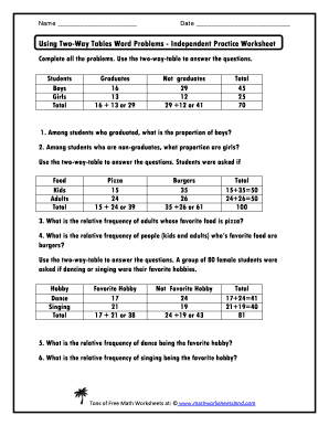 Using Two Way Tables Word Problems Answer Key Fill Online