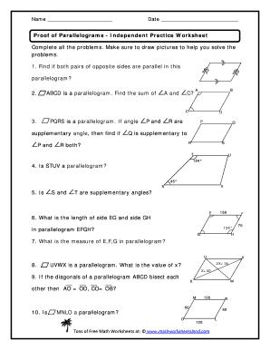 Proof Of Parallelograms Independent Practice Worksheet ...