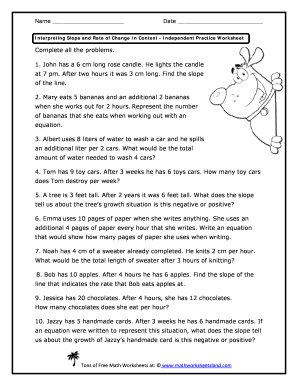 Slope And Rate Of Change Worksheets - Kidz Activities