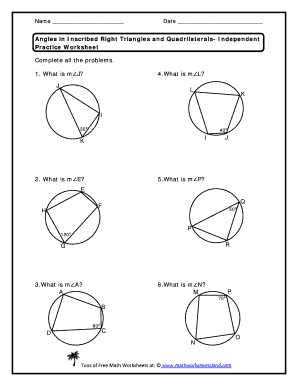 angles in inscribed right triangles and quadrilaterals independent practice worksheet pdf fill. Black Bedroom Furniture Sets. Home Design Ideas
