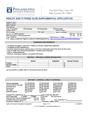 Print Application Clear Application HEALTH AND FITNESS CLUB SUPPLEMENTAL  APPLICATION Applicant Name: Mailing Address:  Free Address Label Templates