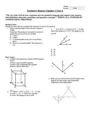 Fillable Online Geometry Honors Chapter 1 Test Adoc Fax Email Print