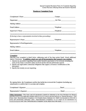 Employee Complaint Form PDF   UCLA Health   Human Resources