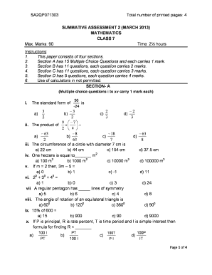 sample paper for class 7 math sa2 form