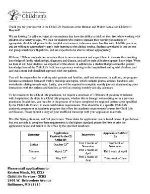 Fillable Online Child Life Practicum Application