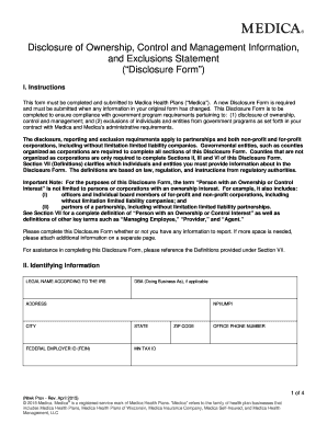 Fillable Online Completed Disclosure of Ownership Form - Medica ...