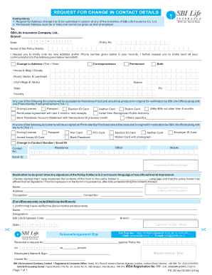 Sbi Life Insurance Name Correction Form - Fill Online ...